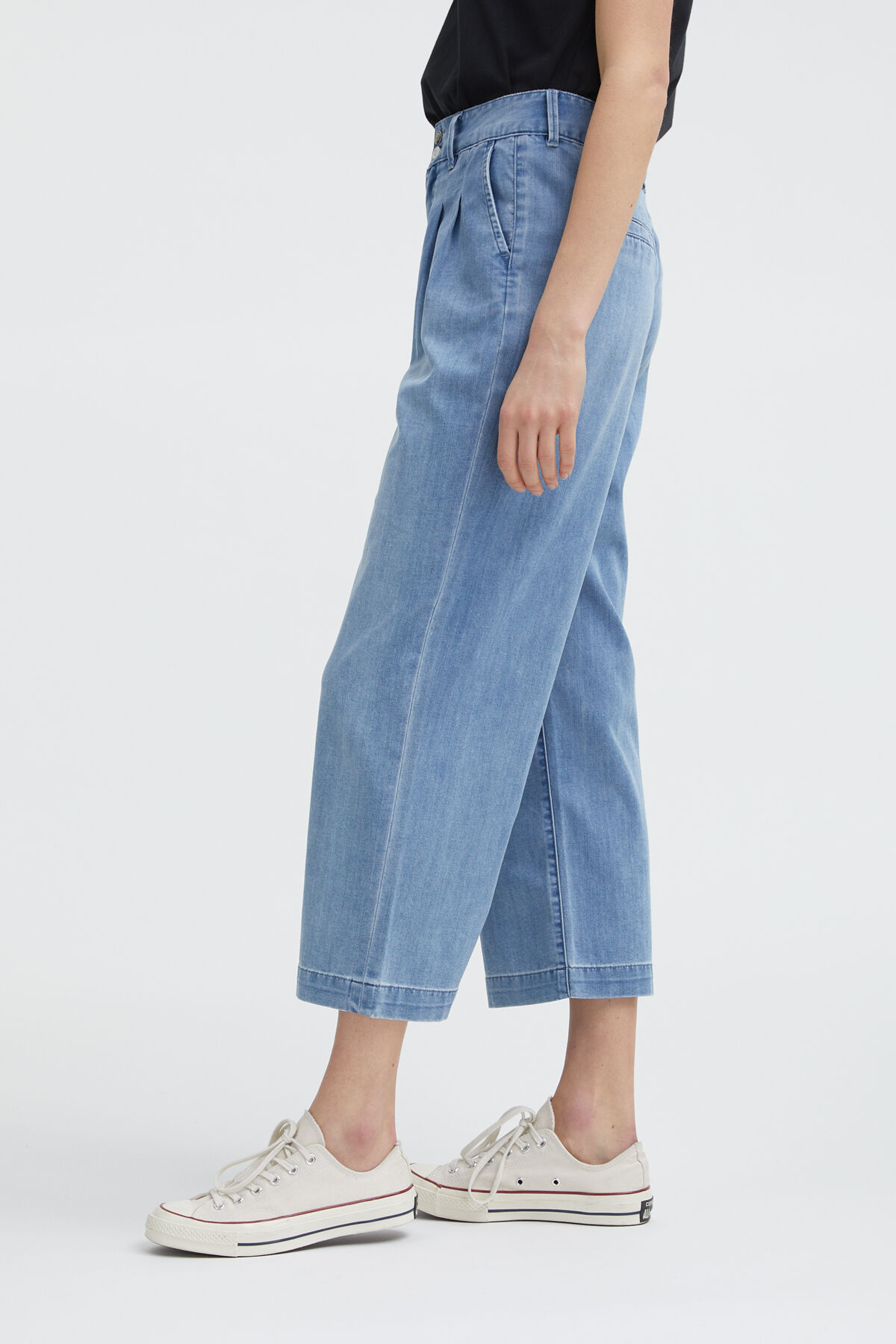 SOPHIA Cotton & Tencel Blend Denim Pants - Wide-leg