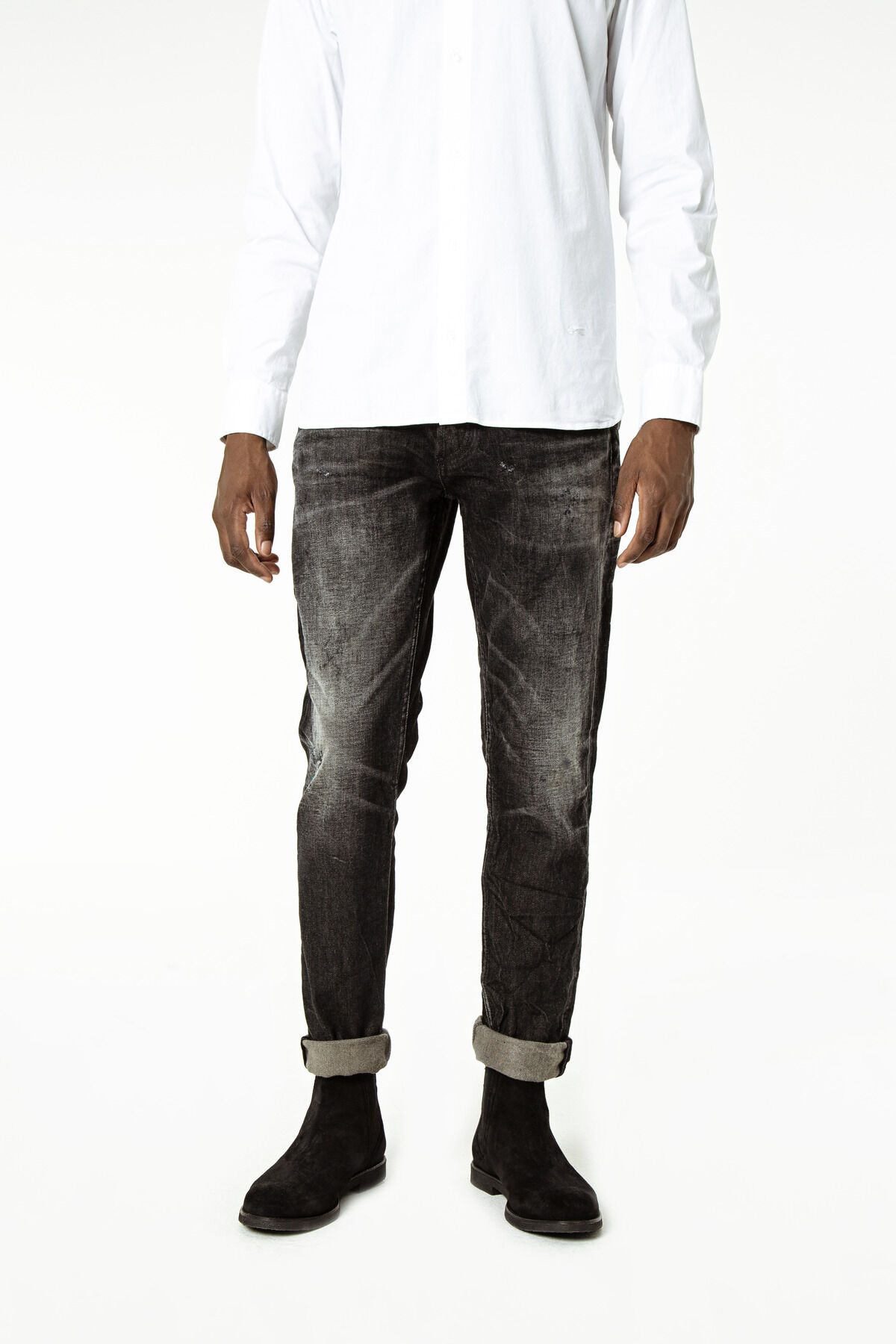 RAZOR Black Distressed Biker Denim - Slim Fit