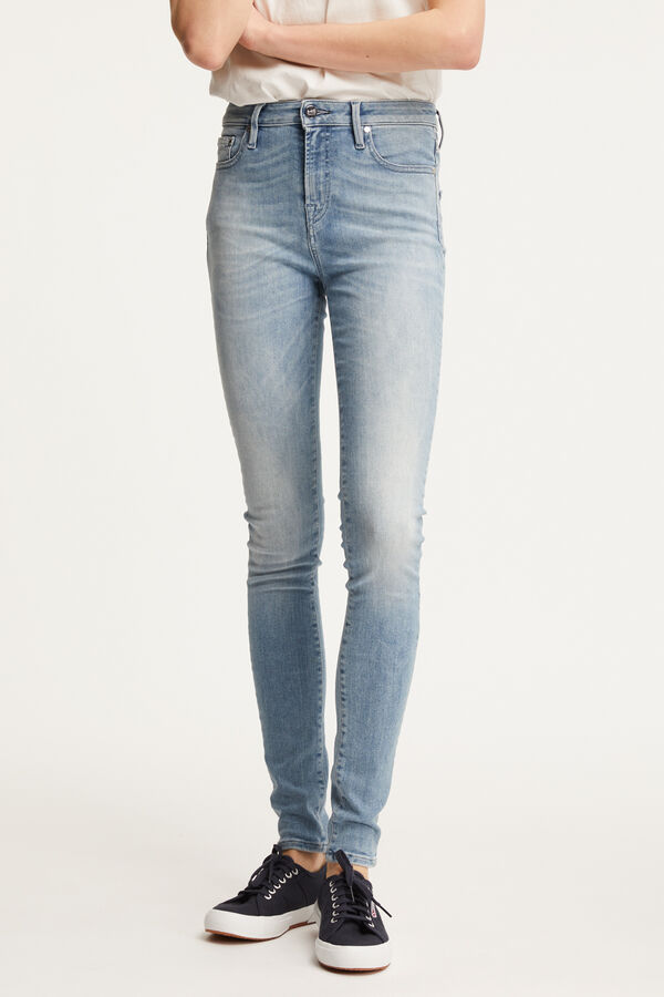 NEEDLE Six-Year Aged Indigo Denim - High-rise, Skinny Fit