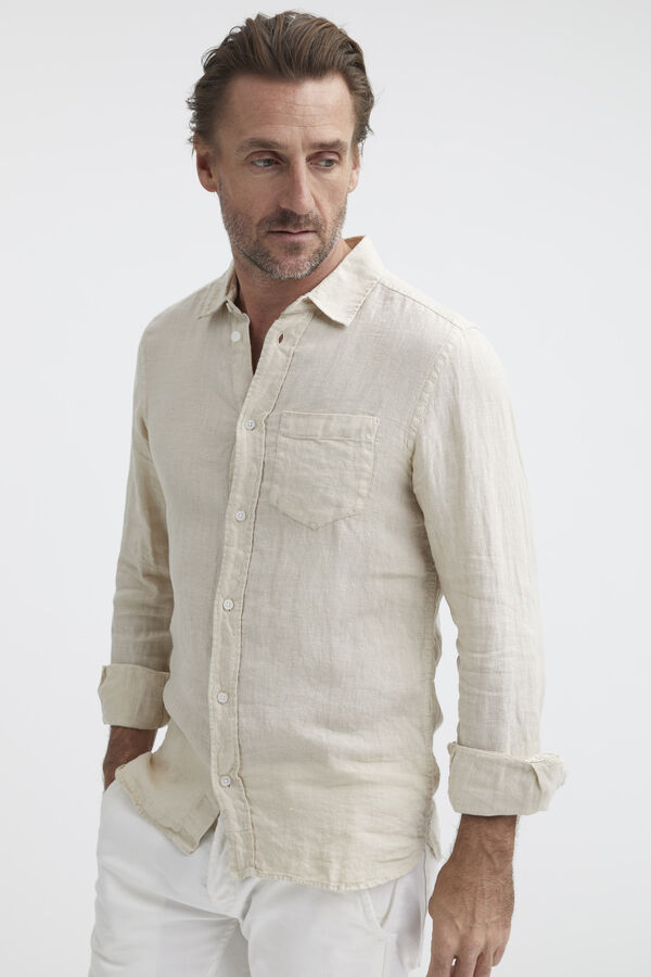 HARRISON Long Sleeves Linen Shirt - Slim Fit