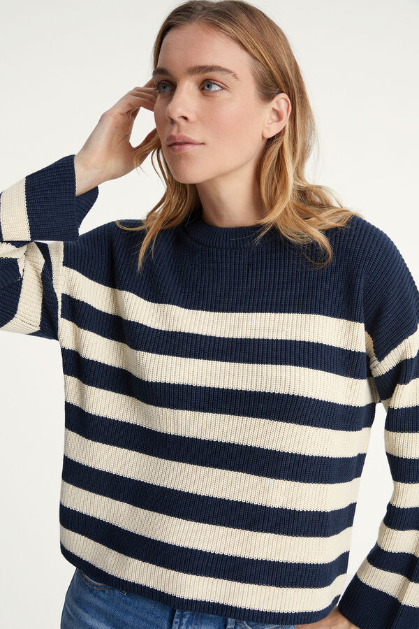 COPPED STRIPE RIB JUMPER Thick Cotton Knit - Boxy Fit