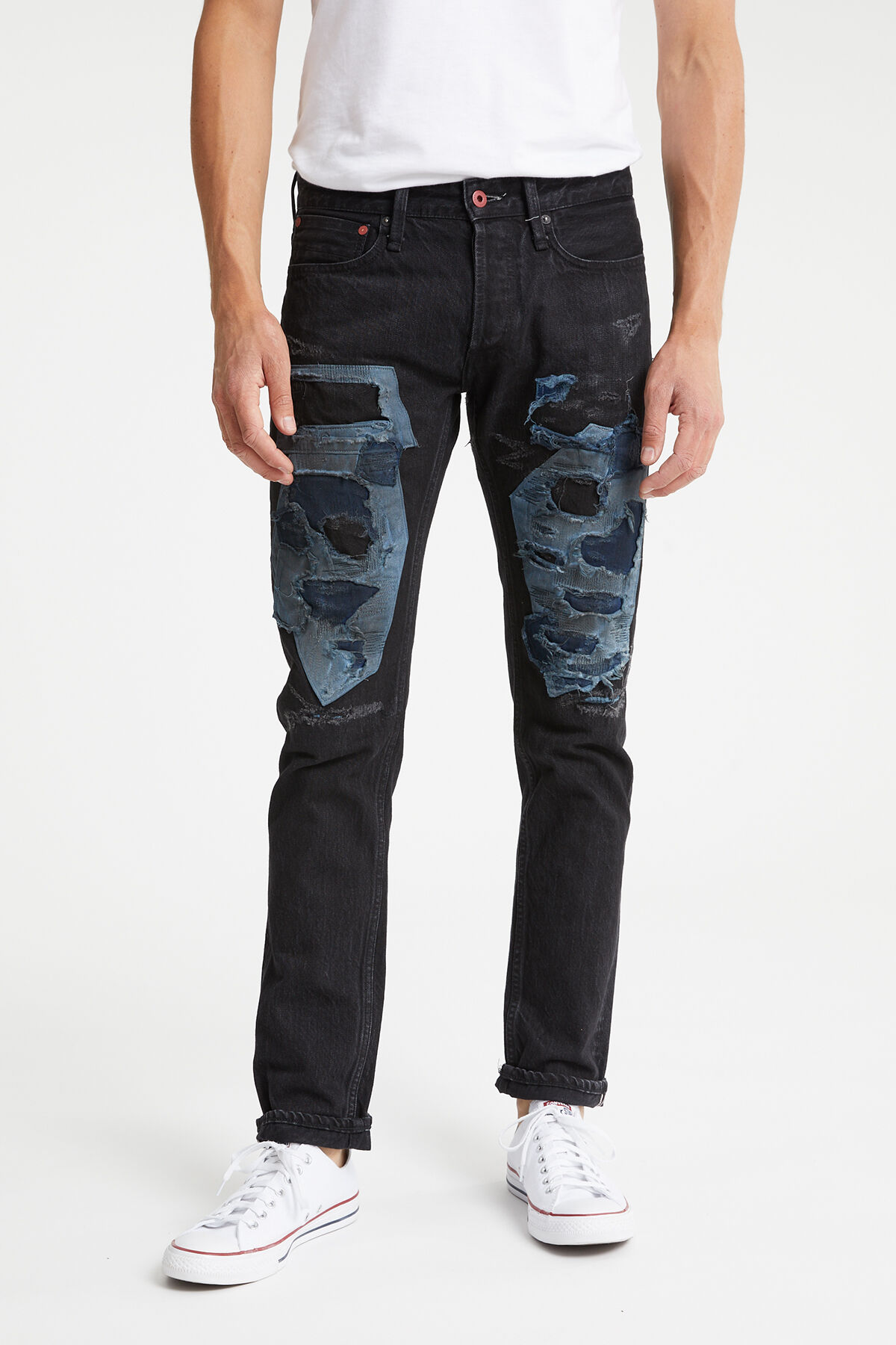 RAZOR Black Repaired Selvedge Denim - Slim Fit