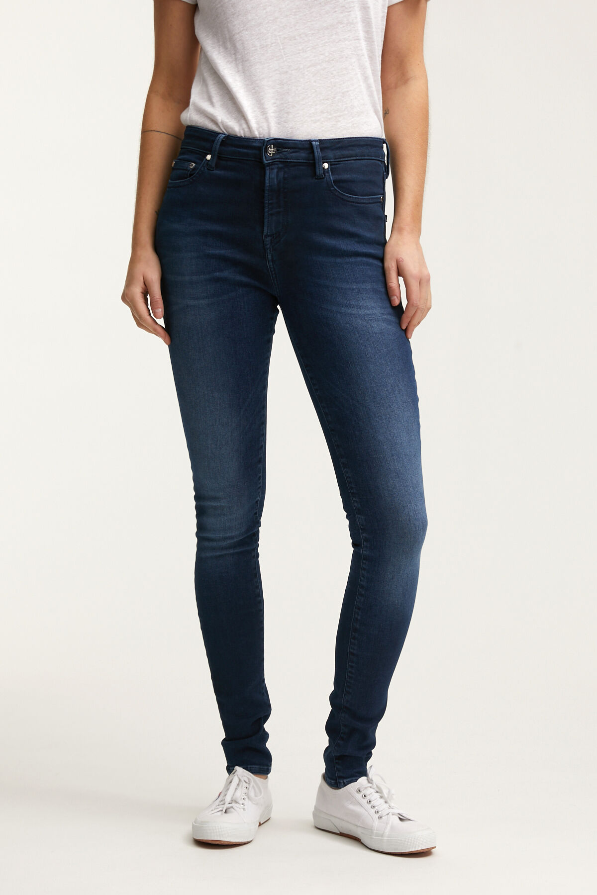 NEEDLE Three-Year Indigo Denim - High-Rise, Skinny Fit