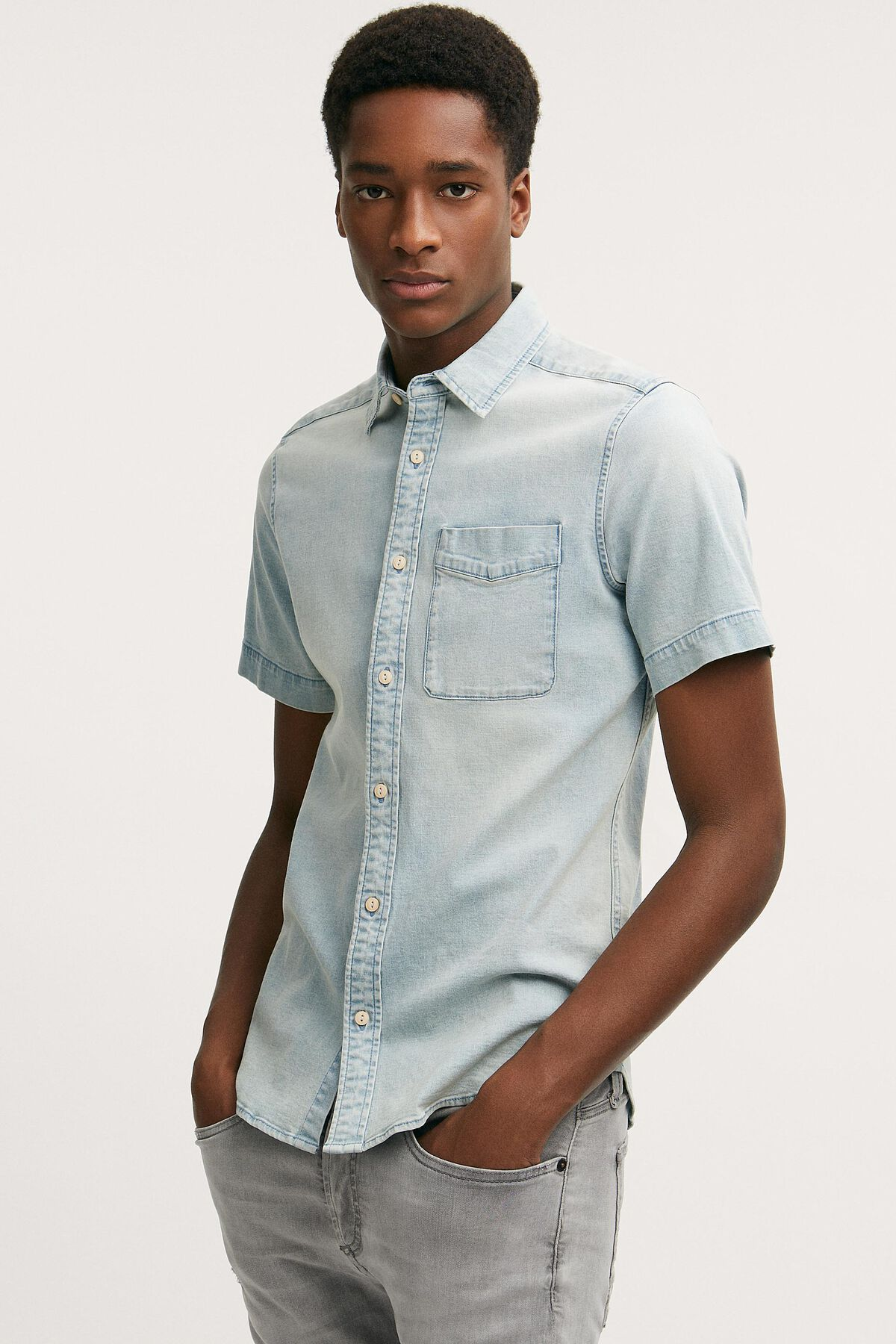 CHARLY SHIRT Heavy Stone Indigo Denim - Slim Fit