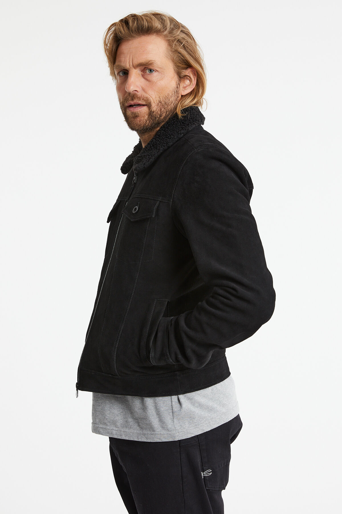 ARLINE LEATHER JACKET Suede Trucker - Slim Fit