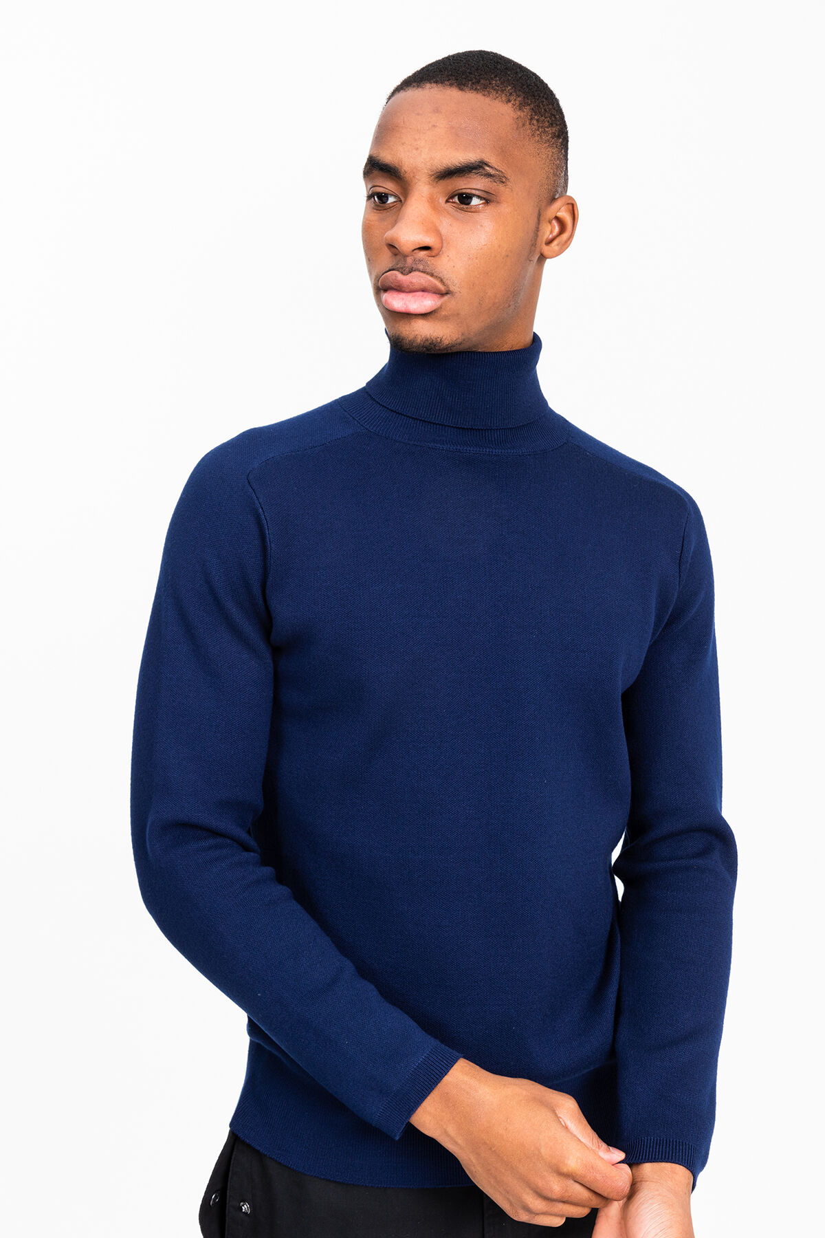 WALL HIGH NECK Technical viscose & polyester blend - Slim Fit