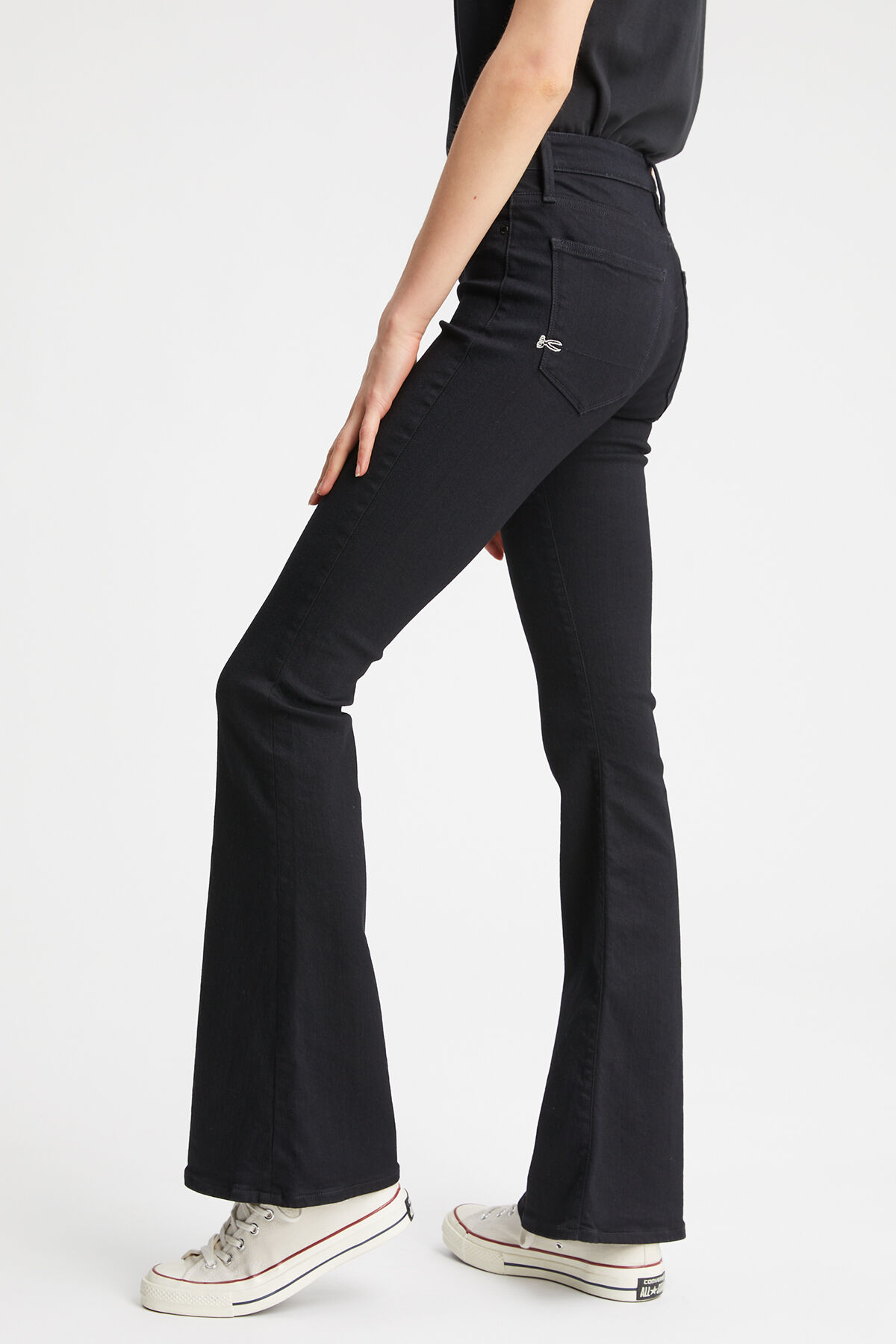 FARRAH Black low impact wash - Flare Fit