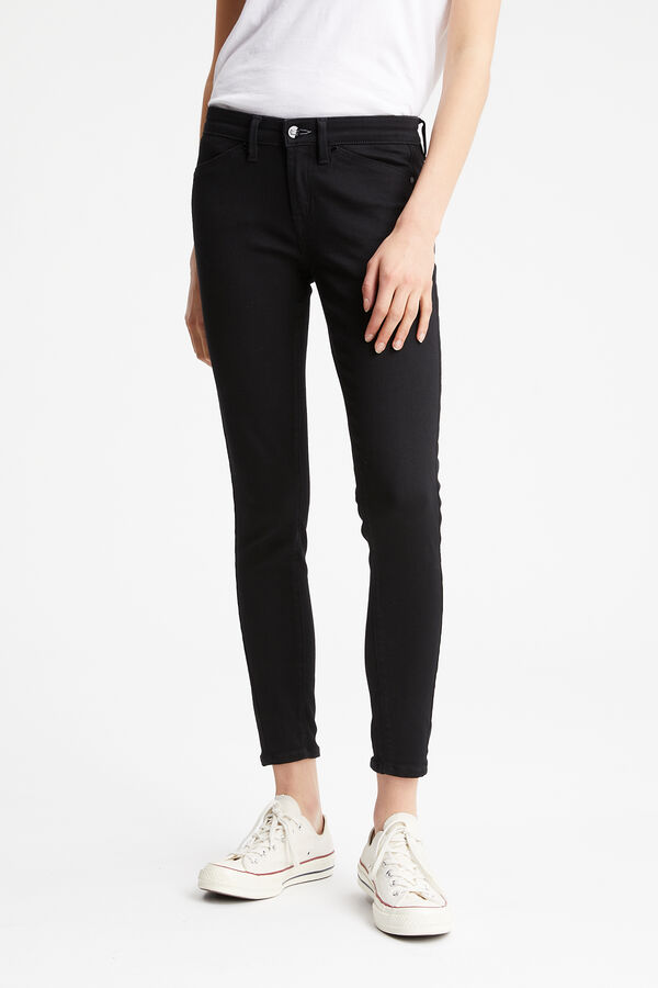 SPRAY ZIP Black High-performance Denim - MID-RISE, TIGHT FIT