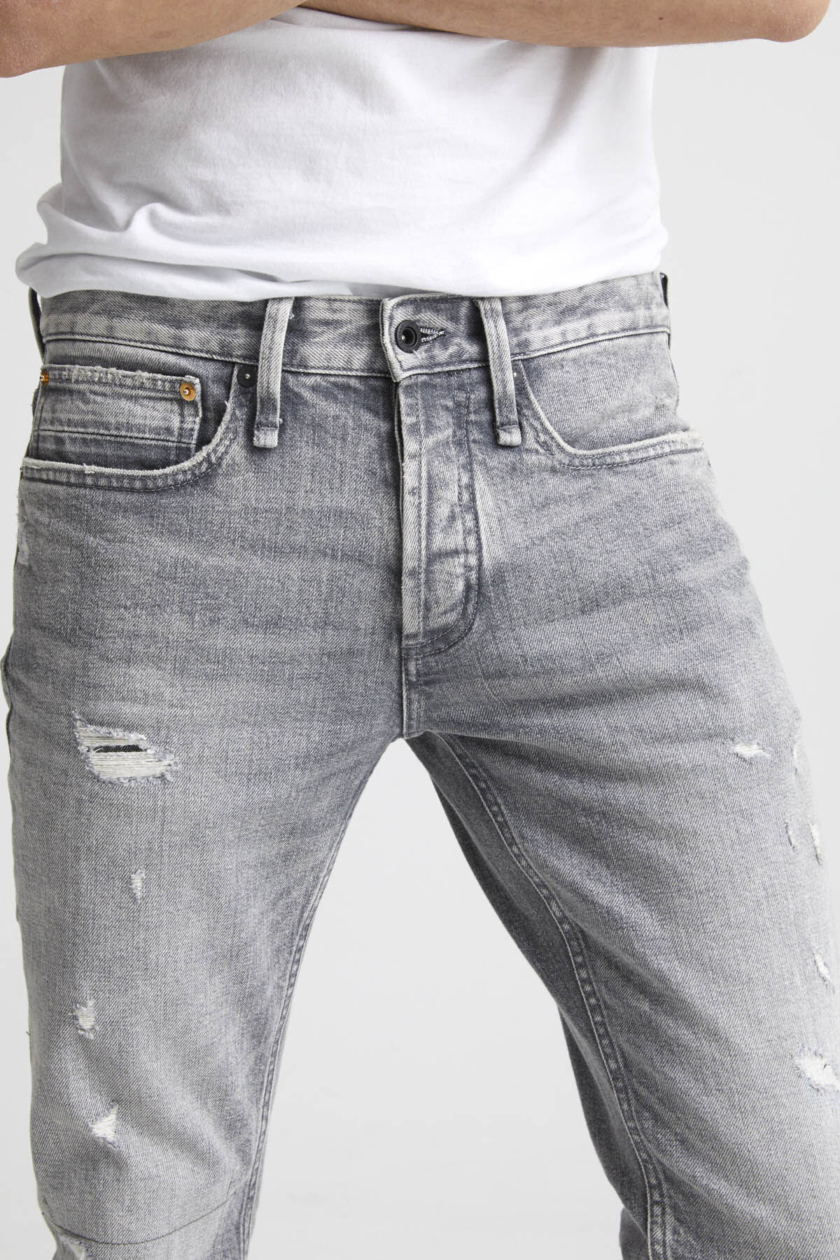 RAZOR Grey Rip & Repair Denim - Slim Fit