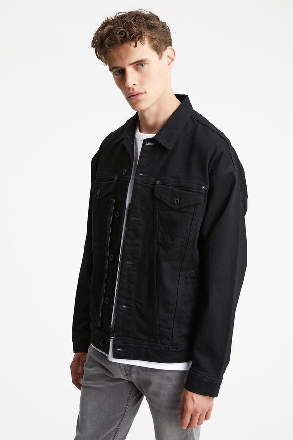 SOLE ZIP JACKET Black Comfort Stretch Denim - Regular Fit