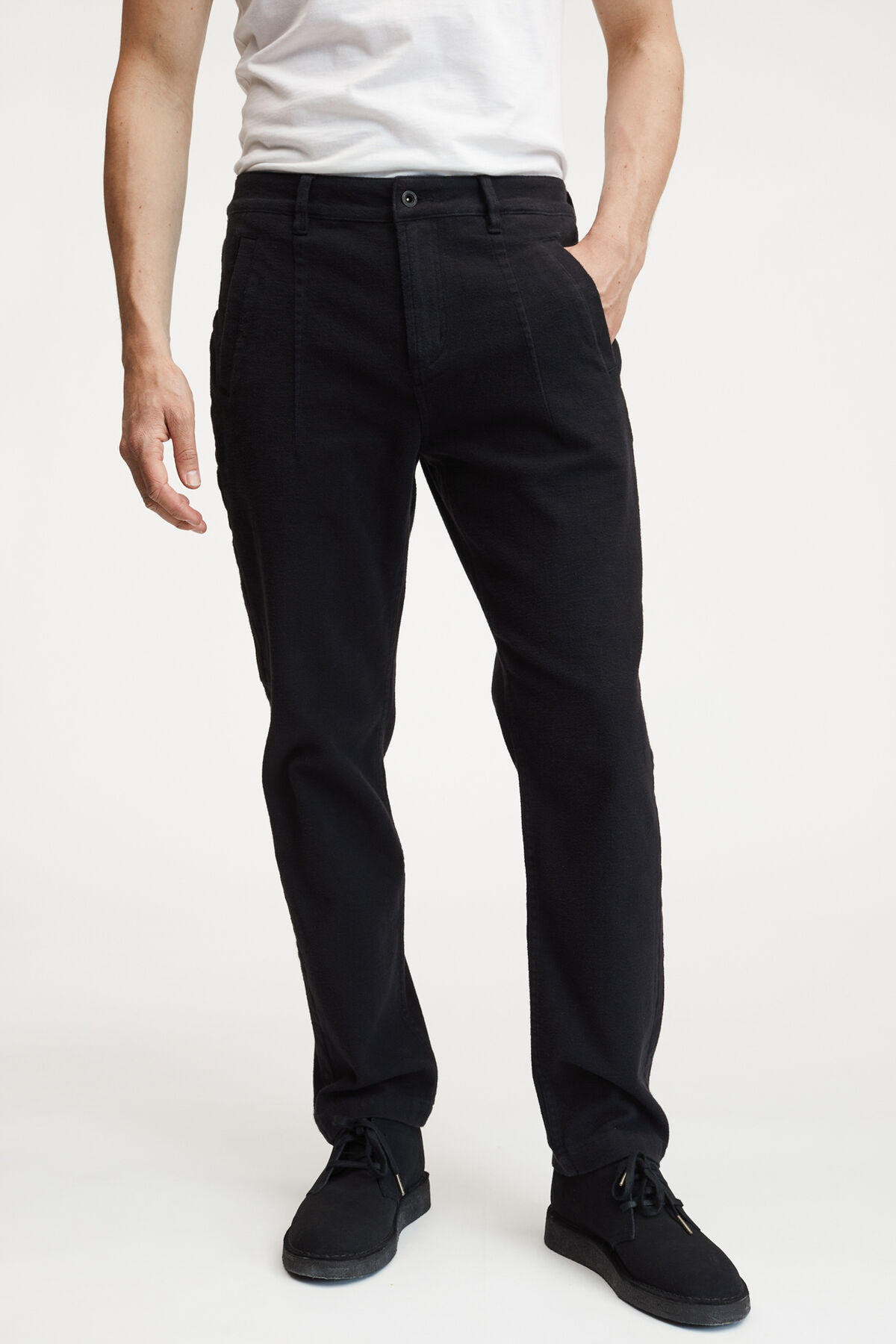 EDGE TAILOR PANT BLACK BRUSHED COTTON - Tailored, Straight Fit