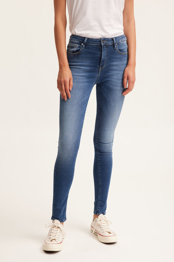 NEEDLE Authentic Contrast Finish Denim - High-rise, Skinny Fit