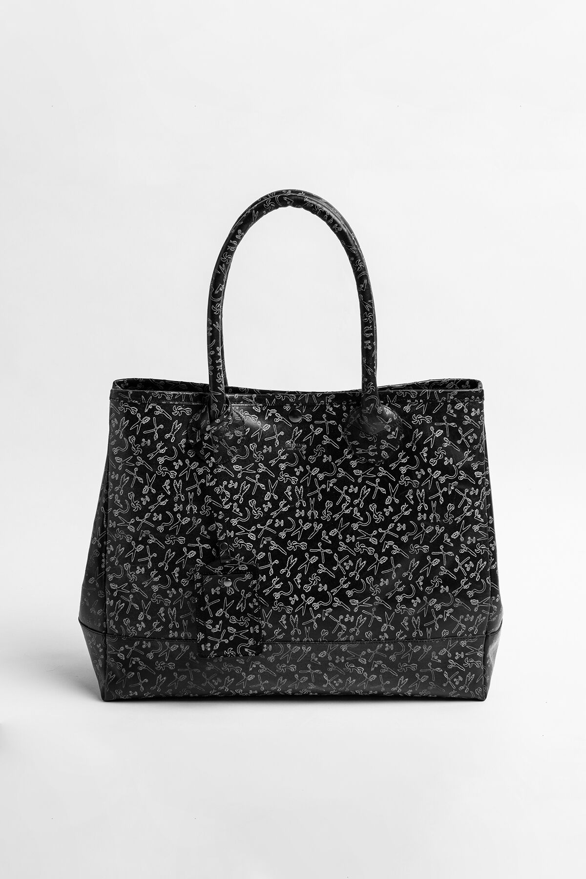 LARGE TOTE BAG Scissor All-Over Print Leather