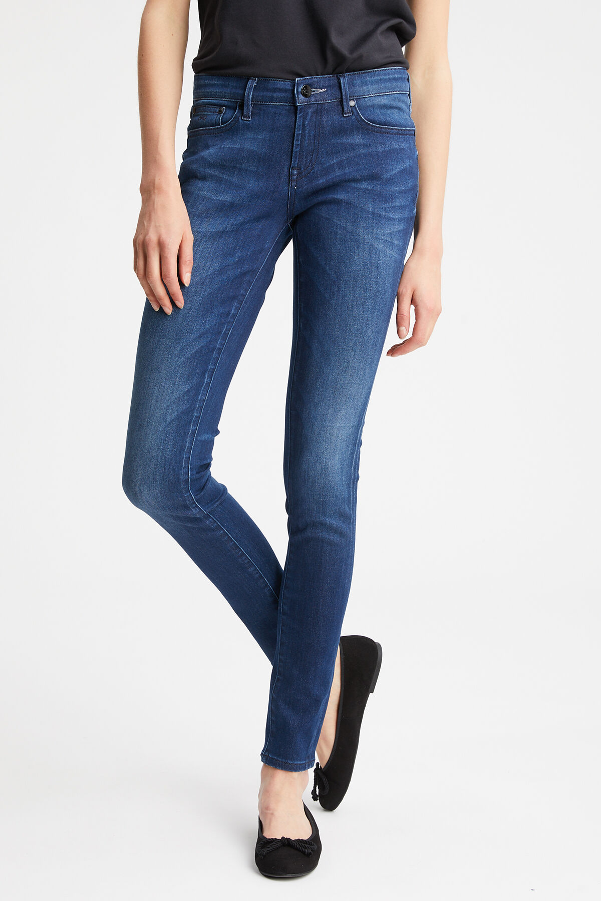 SHARP Dark-Aged, Worn Denim - Mid-Rise, Skinny Fit