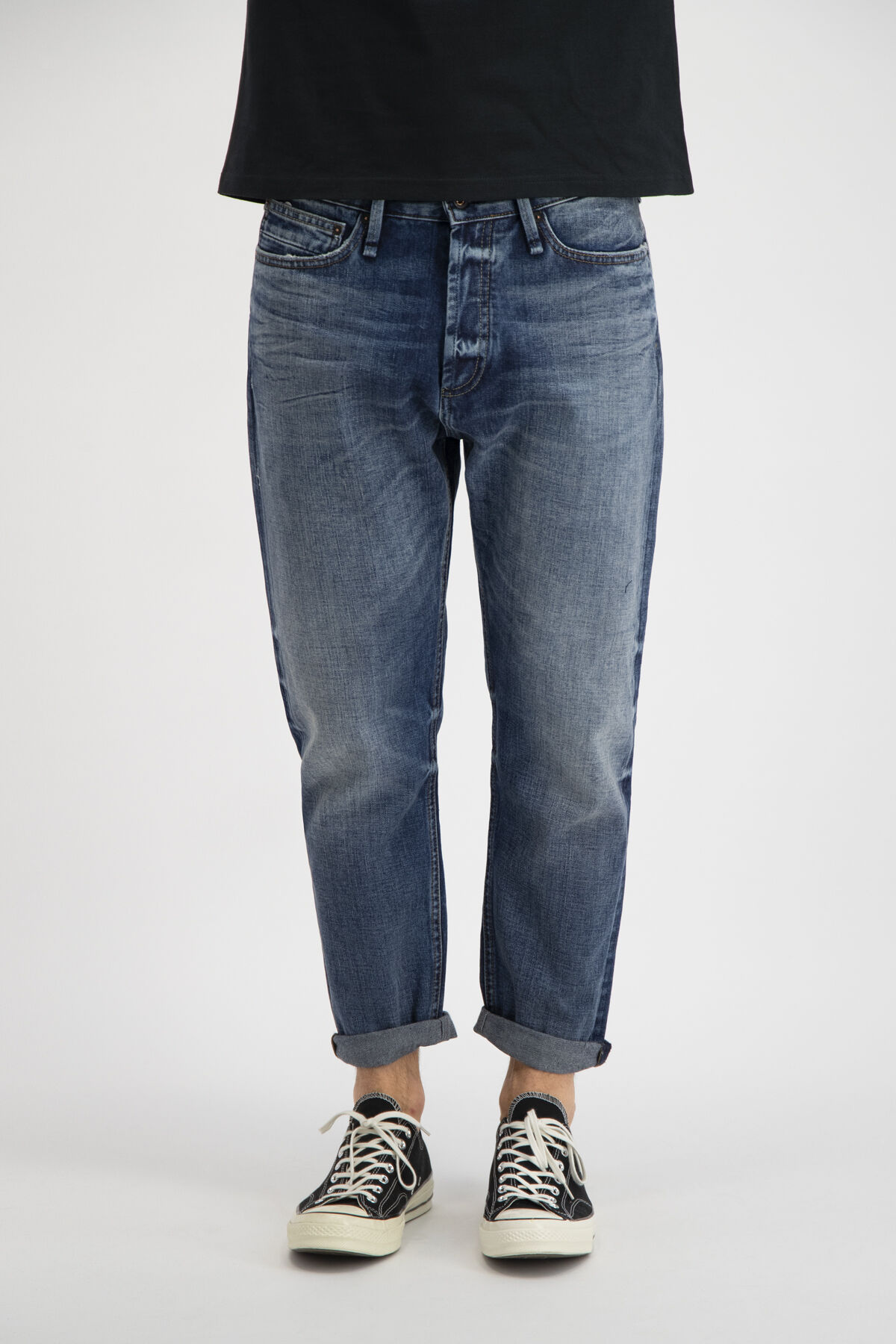 CROP Natural Faded Indigo Denim - Low Crotch, Cropped Fit