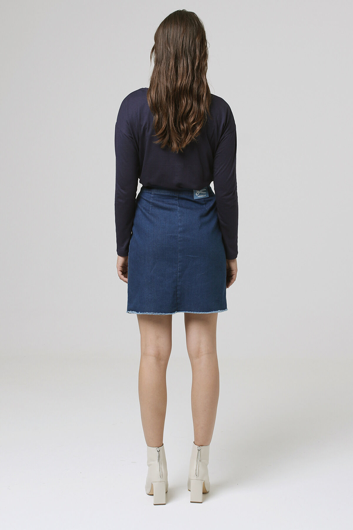 SALINAS SKIRT Indigo Stretch Denim - Knee Length