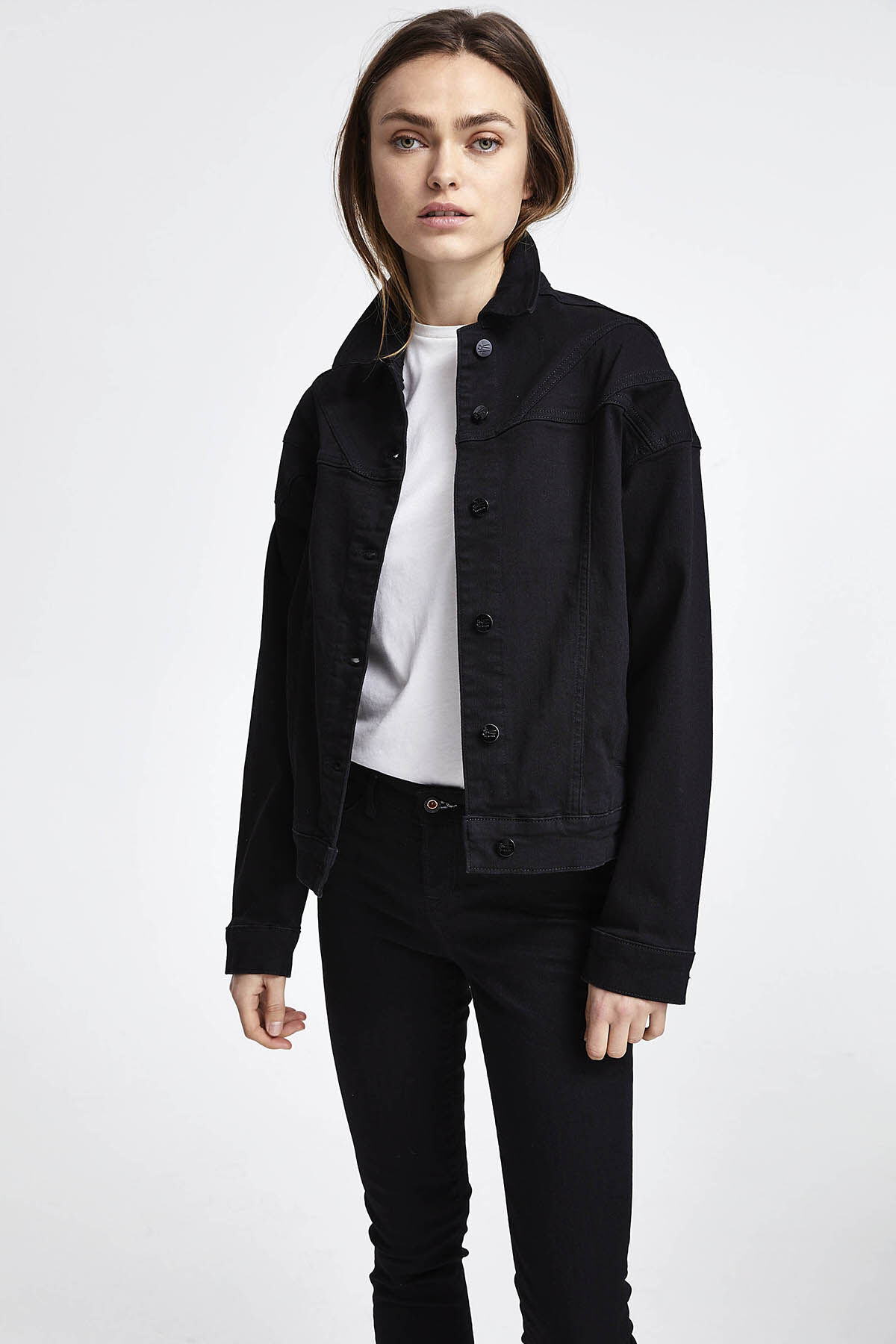 PARIS JACKET Pure Black Finish Denim - Oversized Fit