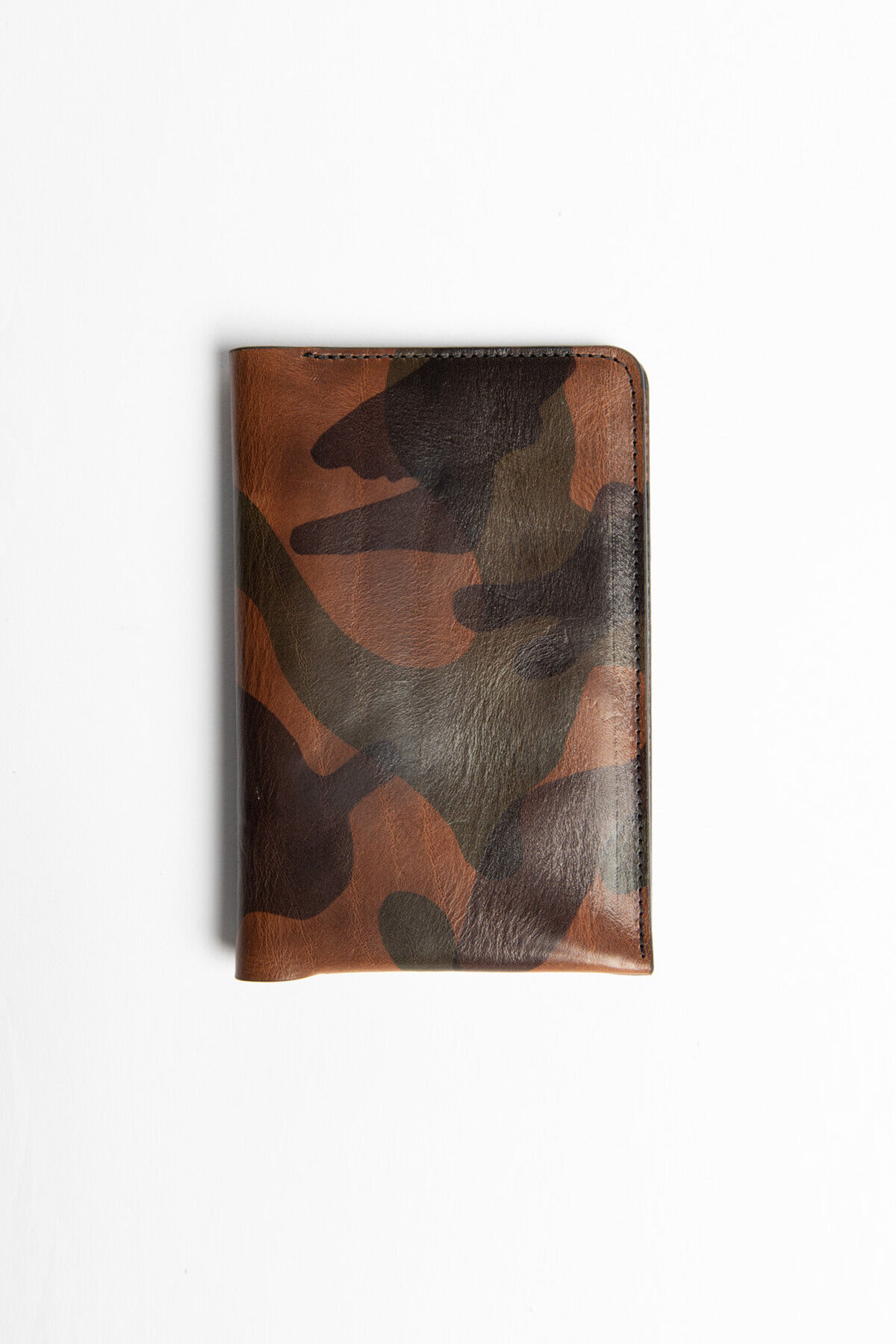 VERTICAL WALLET Camo Laser Print Leather