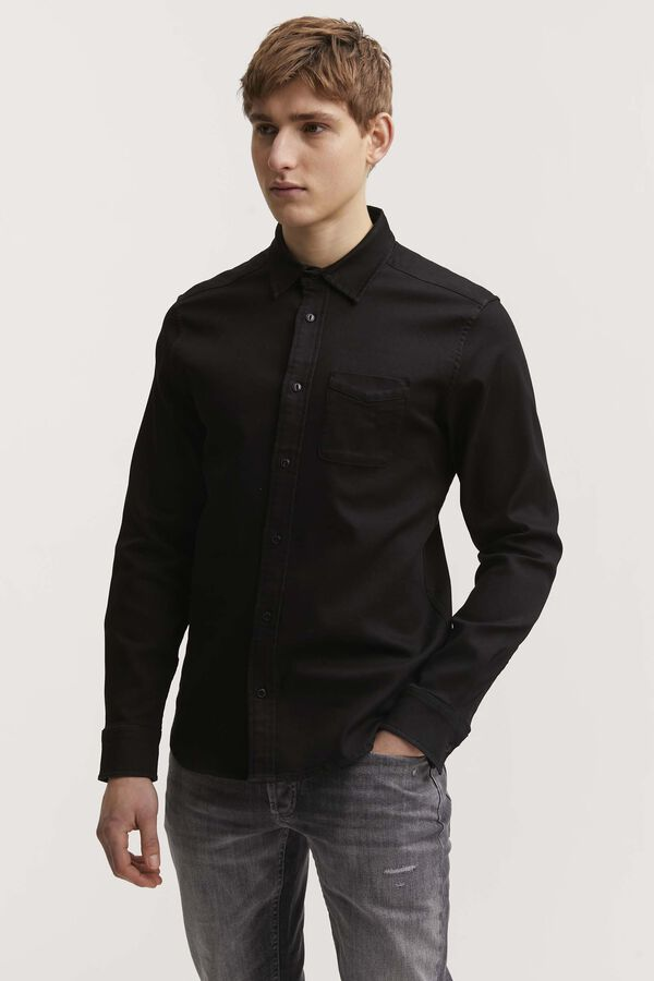 CHARLY SHIRT Black High-Stretch Denim - Slim Fit