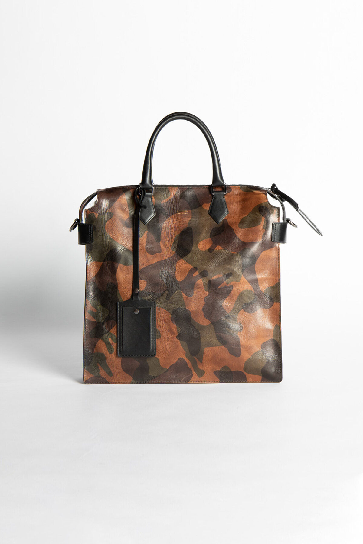 ZIP TOTE BAG Camo Laser Print Leather