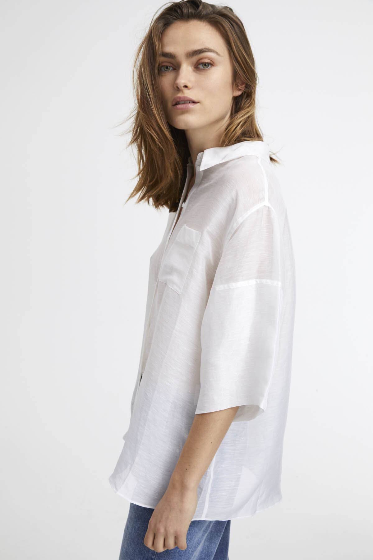 HENLEY SS SHIRT Poplin - Oversized Fit