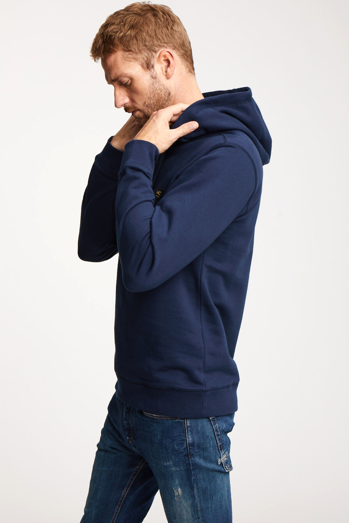 DENHAM APPLIQUE HOODY Soft Cotton Fleece - Slim Fit