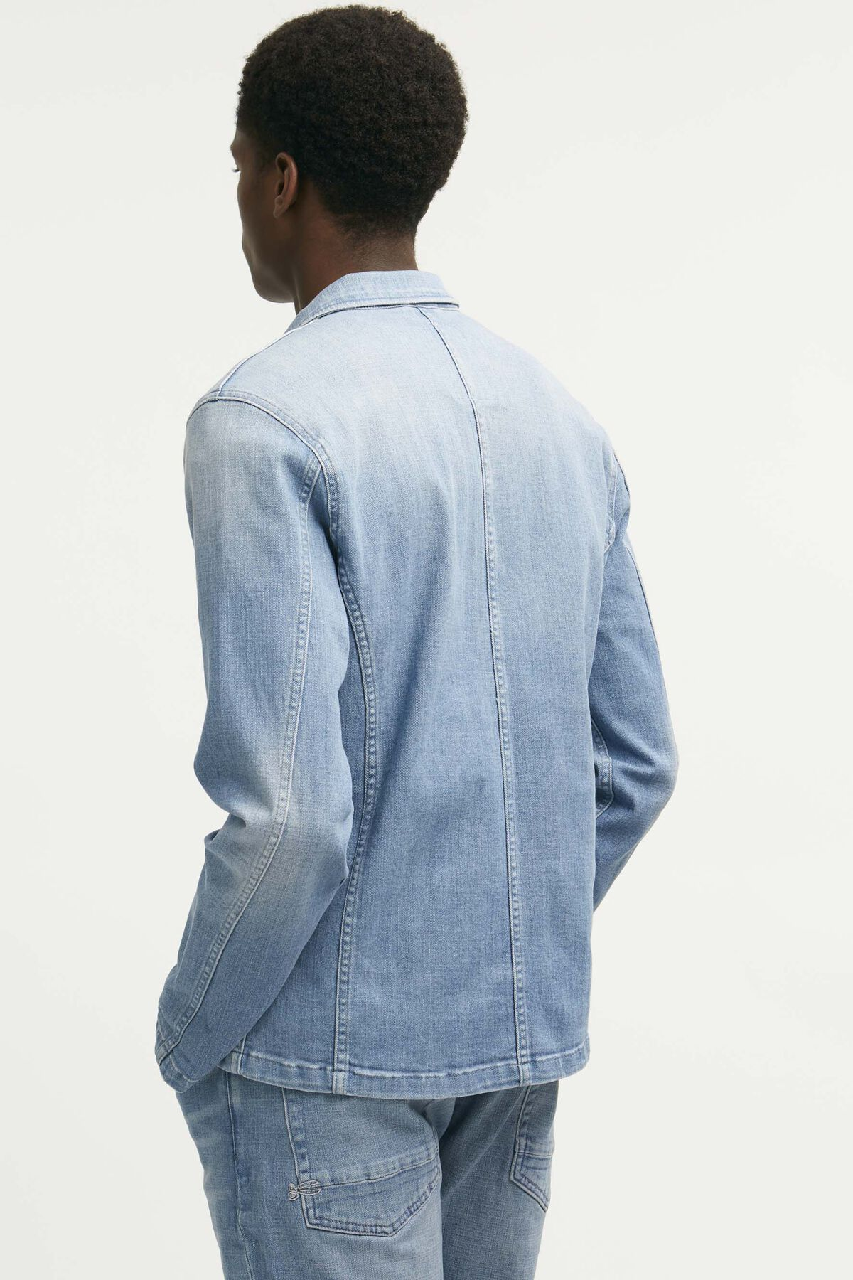 MAO JACKET Light Blue Denim - Slim Fit