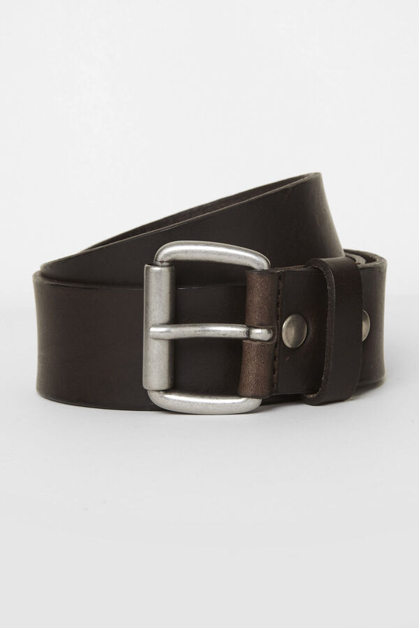 40MM ROLLER DK BROWN Belt Leather