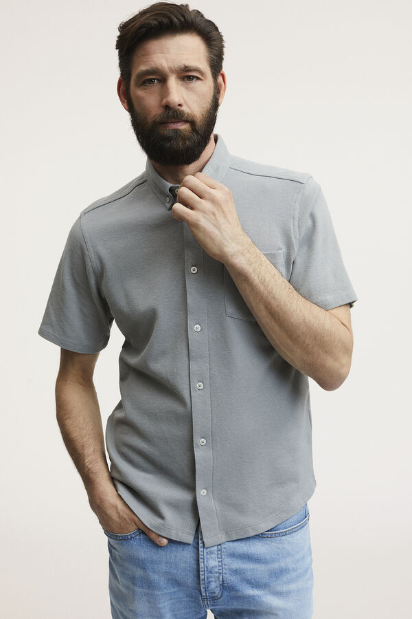 BRIDGE SHIRT SS Stretch Cotton Pique - Slim Fit