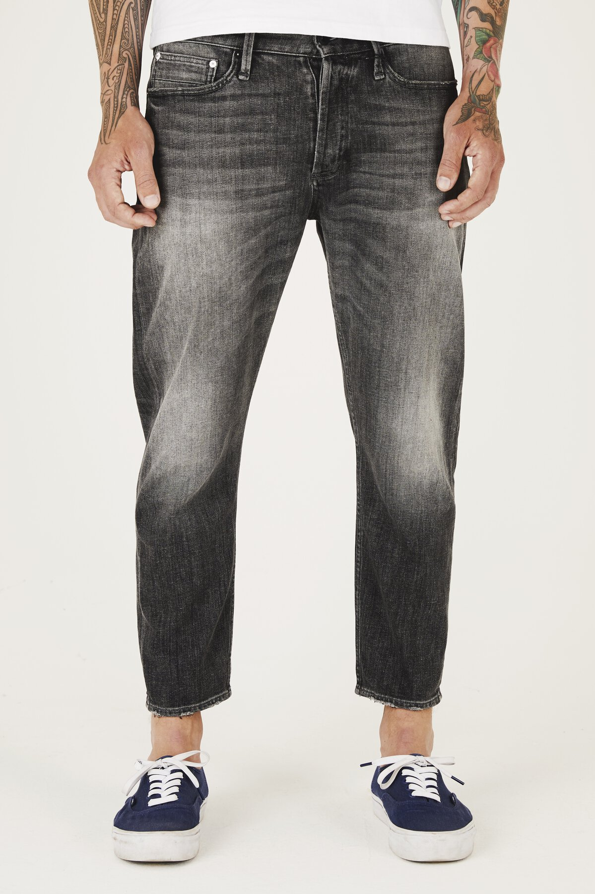 Crop - Low Crotch Cropped Fit Jeans - Front